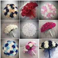Wedding flowers artificial bouquets MANY COLOURS bride bridesmaid button holes